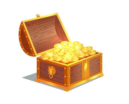 무거운 열린 나무 상자에 고대 금화