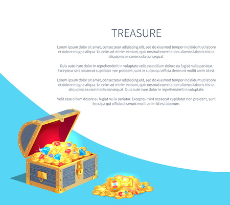 Treasure Poster Wooden Chest Full of Ancient Gold Illustration