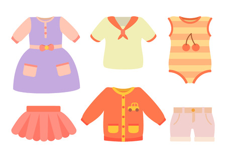 Baby Clothes Poster and Set Vector Illustration 일러스트
