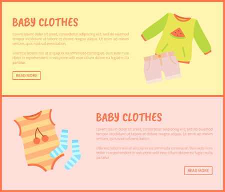 Baby Clothes Web Set of Pages Vector Illustration
