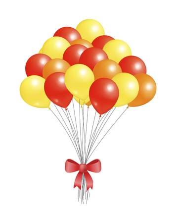 Helium Flying Elements Decorated Red Bow, Balloons
