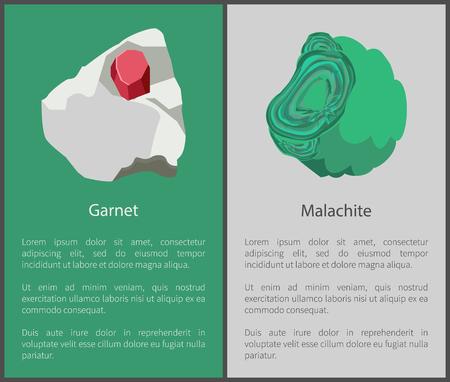 Granaat- en malachiethydroxide-mineralen, roodgroen