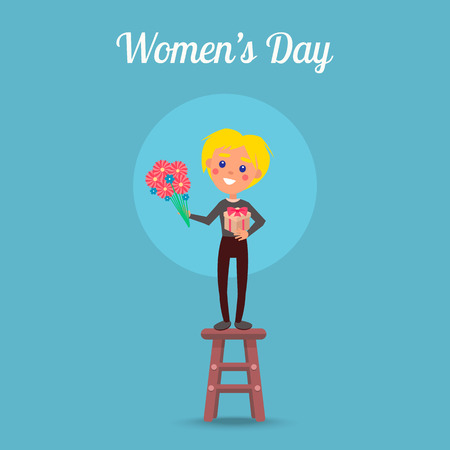Womens Day Poster with Child on Stool Illustration