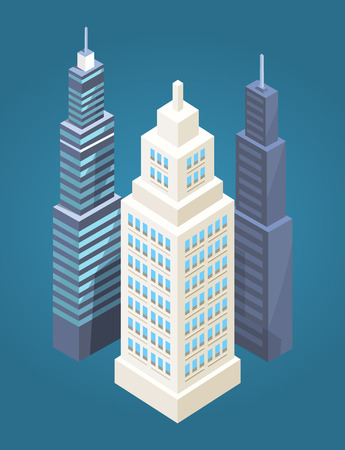 Skyscrapers Collection Poster Vector Illustration