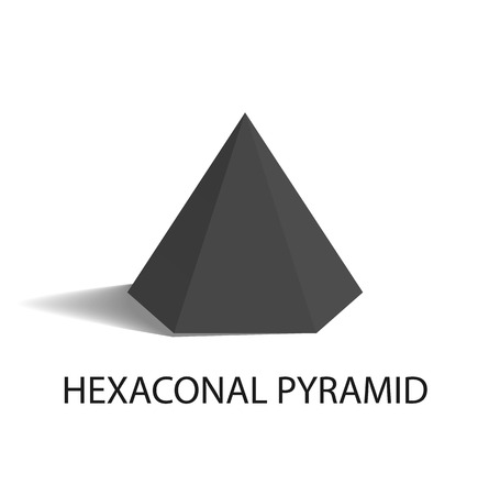 Hexaconal Pyramid Geometric Shape in Black Color Stock Vector - 102053606