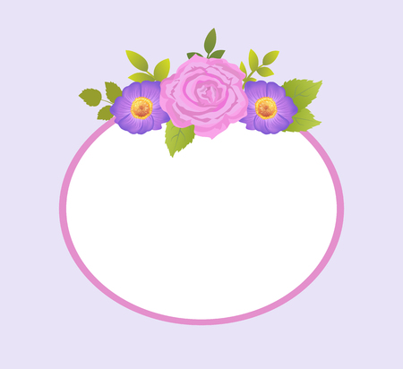 Rose and Purple Daisy Flowers Photo Frame Greeting Illustration