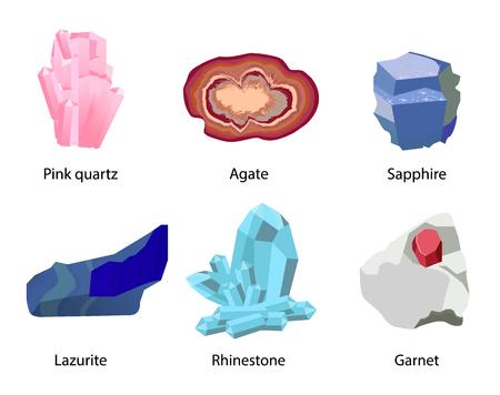 Pink Quartz Agate Sapphire Lazurite Rhinestone