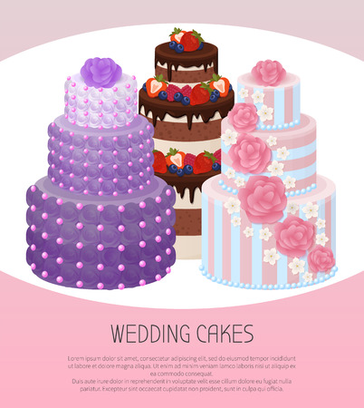 Wedding Cakes Poster Text Vector Illustration Illusztráció
