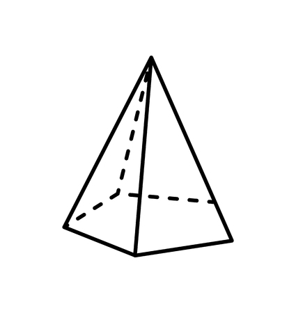 Tetrahedron Geometric Figure with Sharp Angles 写真素材