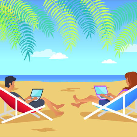 Working Man and Woman on Beach Vector Illustration