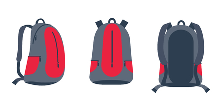 Backpack for Bike Riding Set Vector Illustration Çizim
