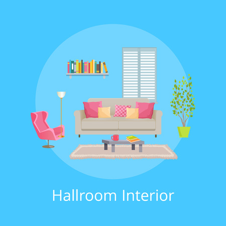 Hallroom Interior Blue Poster Vector Illustration Foto de archivo - 102053697