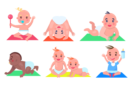 Set of Color Pictures with Various Small Children