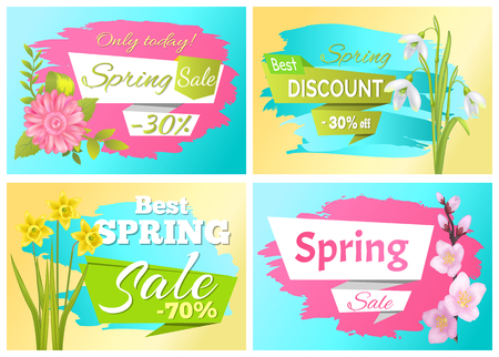 Set Spring Sale Advertisement Label Branch Flowers Illustration