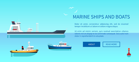 Marine Ships and Boats Color Vector Illustration