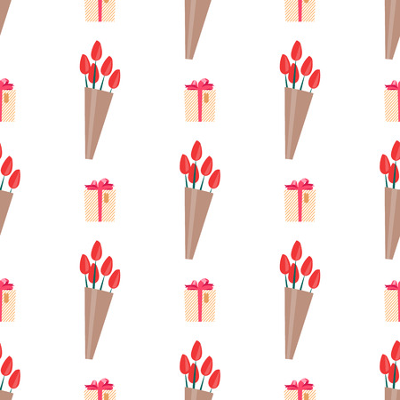 Seamless Pattern with Tulips Wrapped in Paper Illustration