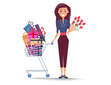 Cheerful Woman with Shopping Trolley Full of Gifts