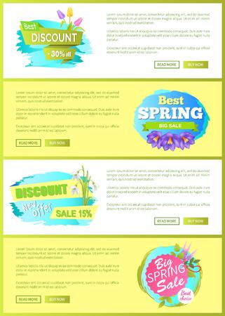 Super Spring Big Sale Advertisement Labels Flowers