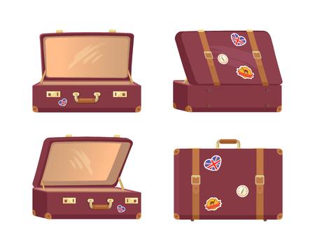 Leren Vintage Koffers Open Gesloten Aktetassen Vector Illustratie