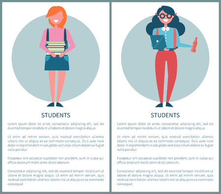 Students Poster with Female Pupils Holding Books