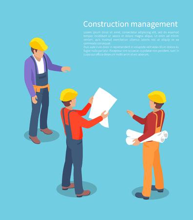 Construction Management, Color Vector Illustration