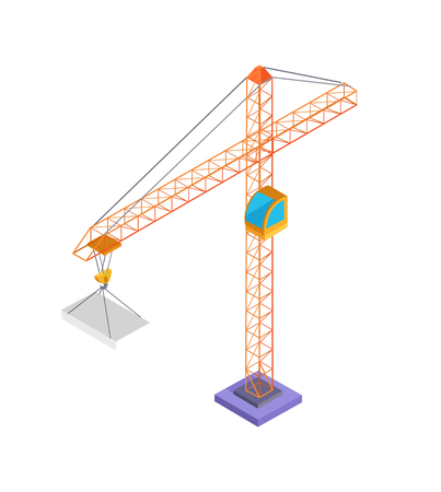 Building Crane and Slab Poster Vector Illustration