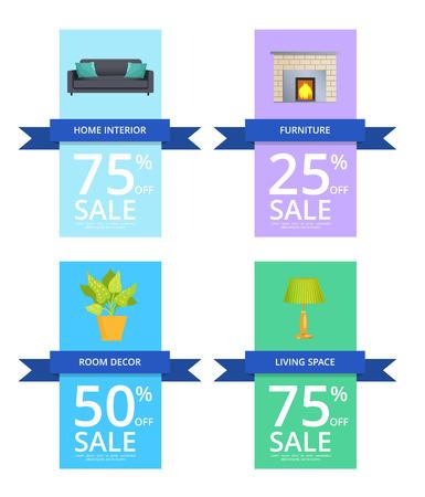 Home Interior Furniture Sale Vector Illustration