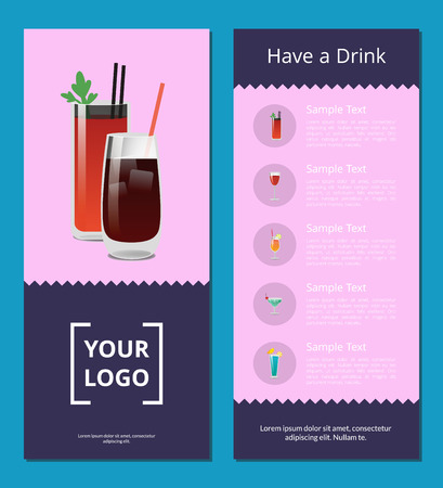 Have a Drink Poster with Bloody Mary Whiskey Cola Фото со стока - 102053826
