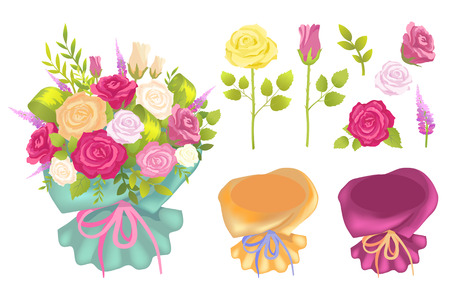 Bouquet and Flowers Set Poster Vector Illustration