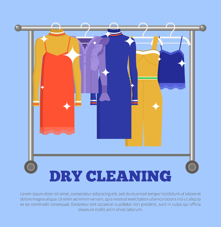 Dry Cleaning Clothing Poster Vector Illustration