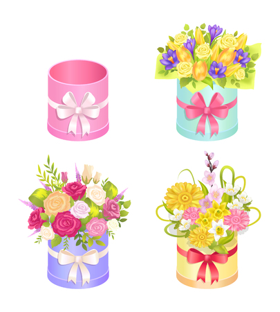 Set of Beautiful Bouquets with Decorative Elements