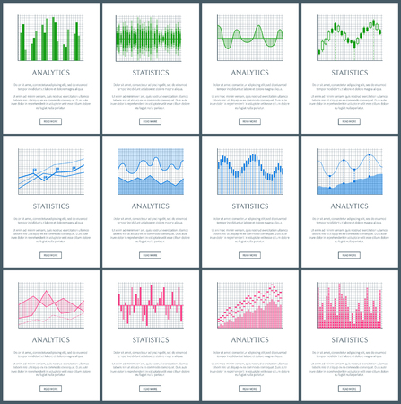 Analytics and Statistics Pages Vector Illustration Çizim