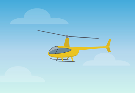 Pretty Yellow Helicopter Color Vector Illustration