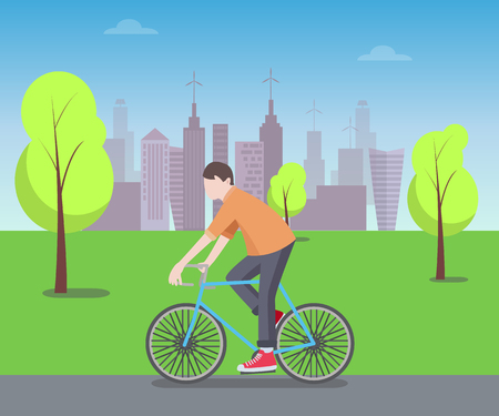Cyclist in Green Park Color Vector Illustration
