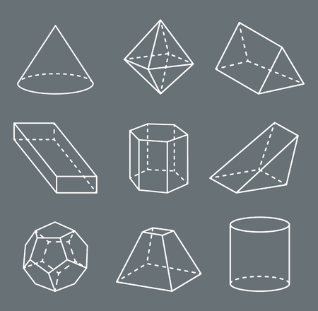 Shapes with Lines Collection Vector Illustration