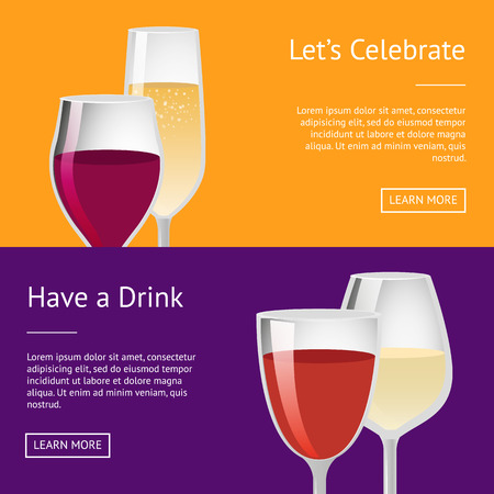 Lets Celebrate have Drink Set of Posters with Text Reklamní fotografie - 102053886