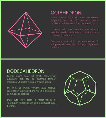 Octahedron and Dodecahedron Vector Illustration Ilustração