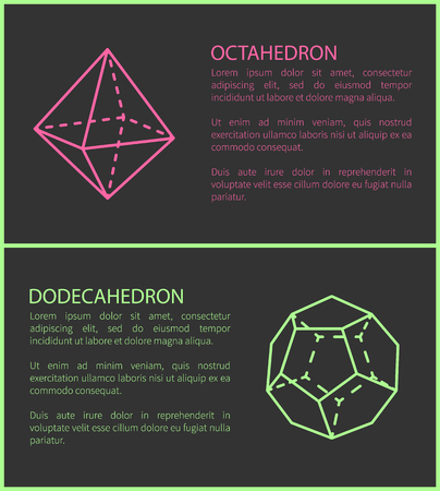 Octahedron and Dodecahedron Vector Illustration Illustration
