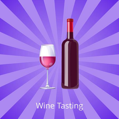 Wine Tasting Poster Bottle Burgundy Wine and Glass
