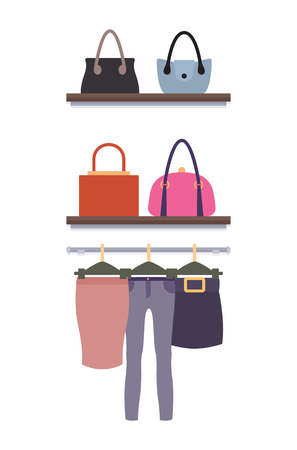 Women Clothing Store Vector Trousers Skirts, Racks  イラスト・ベクター素材