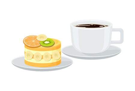 Bright Banner with Cup of Espresso and Tasty Pie