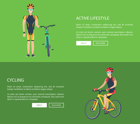 Active Lifestyle and Cycling Vector Illustration Reklamní fotografie - 102127197