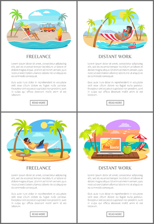 Freelance Distant Work Text Vector Illustration
