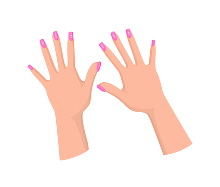 Hands with Feminine Pink Manicure with Rhinestones