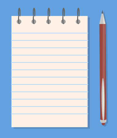 Notepad and Pencil Templates, Colorful Banner