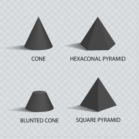 Cones and Pyramids Set, Black Prisms, Color Banner
