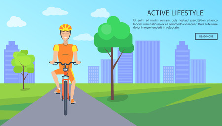 Active Lifestyle Colorful Card Vector Illustration