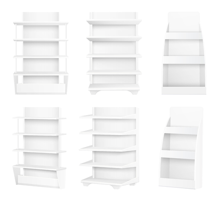 Modern Stylish Wooden Shelves Painted in White Set Vectores