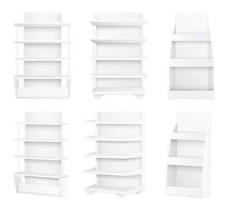Modern Stylish Wooden Shelves Painted in White Set Illustration