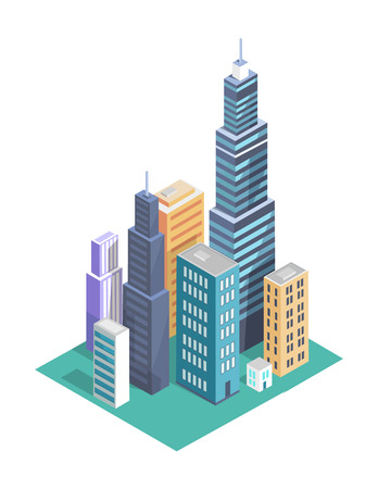Building Set and Skyscrapers Vector Illustration